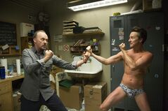 This image released by Fox Searchlight shows Michael Keaton, left, and Edward Norton in a scene from