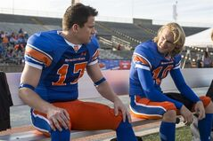 This image released by Sony Pictures shows Channing Tatum, left, and Wyatt Russell in Columbia Pictures'