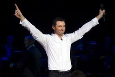 Hugh Jackman appears onstage at the curtain call for the opening night performance of