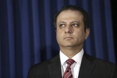 """FILE - In this April 1, 2014 file photo, U.S. Attorney for the Southern District of New York Preet Bharara participates in a news conference in New York. In America, Bharara has been on the cover of Time magazine and has earned praise for his tough language toward corruption on Wall Street and Main Street and in the hallways of elected officeholders. But his prosecution of an Indian diplomat has drawn scorn in his birthplace of India, with one commentator even questioning if he took up the case """"to serve his white masters. Bharara has received such criticism for years for his prosecutions of South Asian- and Indian-born Wall Street traders. (AP Photo/Seth Wenig, File)"""