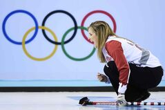 Canada skip Jennifer Jones yells after throwing her rock while playing against China in the second end during the 2014 Sochi Winter Olympics in Sochi, Russia on Monday. Canada won 9-2.