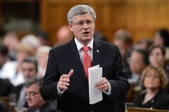 Prime Minister Stephen Harper responds to a question during question period in the House of Commons on Parliament Hill in Ottawa on Wednesday, April 24, 2013. THE CANADIAN PRESS/Sean Kilpatrick