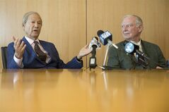Businessman Lewis Katz, left, and philanthropist H.G.