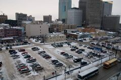 A private parking lot at Graham Avenue, the site of the old Winnipeg Tribune building. Sources say it will be the site of what could become the city's tallest building.
