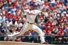 Philadelphia Phillies' A.J. Burnett pitches during the first inning of a baseball game against the Los Angeles Dodgers, Sunday, May 25, 2014, in Philadelphia. (AP Photo/Matt Slocum)