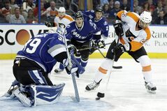 Philadelphia Flyers center Maxime Talbot (25) takes a shot on Tampa Bay Lightning goalie Anders Lindback, of Sweden, (39) during the first period of an NHL hockey game Monday, March 18, 2013, in Tampa, Fla. (AP Photo/Chris O'Meara)