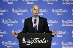 NBA Commissioner Adam Silver speaks during a news conference before Game 2 of the NBA basketball finals between the San Antonio Spurs and the Miami Heat on Sunday, June 8, 2014, in San Antonio. (AP Photo/Tony Gutierrez)