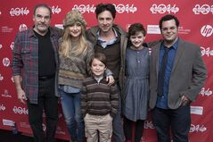 Actor Mandy Patinkin, Actress Kate Hudson, Actor Pierce Gagnon (front), Director/Co-Writer Zach Braff, Actress Joey King and Actor Josh Gad pose at the premiere of the film