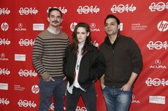 From left, Writer and director Peter Sattler, cast member Kristen Stewart, and cast member Peyman Moaadi, pose together at the premiere of the film