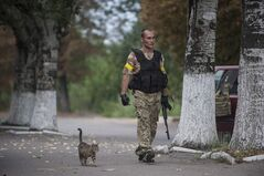 A Ukrainian government soldier from battalion