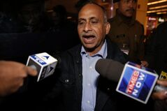 Uttam Khobragade, father of Devyani Khobragade, who served as India's deputy consul general in New York, talks to press after meeting his daughter after her arrival at the Indira Gandhi International airport in New Delhi, India, Friday, Jan. 10, 2014. Devyani Khobragade was allowed to fly home to India on Friday after being indicted by a U.S. federal grand jury. In retaliation to the diplomatic dispute touched off by the arrest and strip search of Khobragade in New York, India has asked the United States on Friday to withdraw a diplomat from the U.S. Embassy in New Delhi. (AP Photo/Saurabh Das)