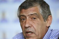 Greece soccer coach Fernando Santos of Portugal announces the national soccer squad in Athens on Monday May 19, 2014. Greece will play in Group C with Ivory Coast, Japan and Colombia at the World Cup in Brazil. (AP Photo/Thanassis Stavrakis)