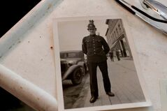 Hansell is seen in uniform on Sherbrook Street and Portage Avenue in a photo from 1936.