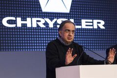 Sergio Marchionne, Chrysler's CEO, speaks at the Canadian International Auto Show in Toronto , on Thursday February 13 , 2014. THE CANADIAN PRESS/Chris Young