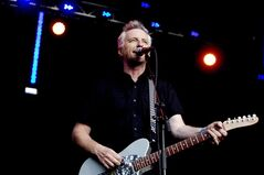 Billy Bragg performs at the Oya music festival in Oslo, Thursday, Aug. 9 2012. This year marks the 30th anniversary of Billy Bragg's spare, politically charged debut EP