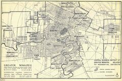 Community members are encouraged to submit names based on the history of the area. Prior to development, the South Pointe area was primarily farmland and had a number of Belgian dairy farms. Pictured above, the Central Business District of Greater Winnipeg map from 1948 shows the Municipality of Fort Garry, sparsely developed in the area of the University of Manitoba.