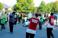 A team from Goodlife Fitness led the members of the crowd in a Zumba warm-up to help them prepare for the walkathon.