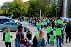 Individuals of all ages and backgrounds took part in the walkathon. The contingent walked along River Road to St. Mary's Road and back.