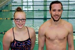Larissa Best, left, and Dillon Perron are the new captains of the U of M's swim team. They plan to keep the positive attitude up on the pool deck during the season.