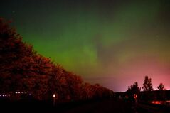 The northern lights as seen from the Lockport Dam.