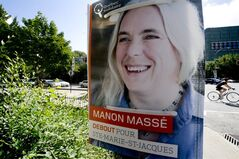 A poster of Quebec Solidaire candidate Manon Masse is seen Saturday, August 18, 2012 in Montreal. The picture has drawn a hail of insults and one-liners on social media sites. THE CANADIAN PRESS/Paul Chiasson