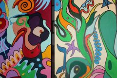 Detail of Lisa Belkin's panels depicting the 6 Days of Creation.