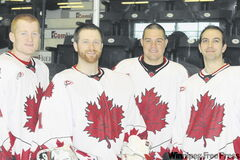Canada's national deaf hockey team has plenty of Manitoba content, including (from left to right) Scott Nelson, Tyler Plett, Dawson Friesen and Brett McLaren.