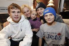 Sirpa Selanne and her children (from left) Eemil, Veera, Eetu and Leevi are excited to be in Winnipeg for Anaheim's game against the Jets.