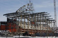 The new Bomber stadium under construction.