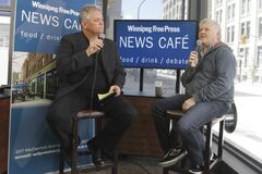 Brad Oswald (left) interviews Dave Foley at the Free Press News Café on Friday. Foley was in Winnipeg for two days to perform stand-up shows at Rumors Comedy Club.