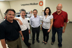 CEO Joel Horn (second from left), with Legumex Walker employees Anthony Kulbacki (from left), Gabriel Schujman, Lucie Wiens and Mike Duncan.