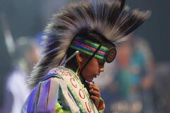 A dancer takes part in the Grand Entry at the Aboriginal Peoples Choice Music Awards at the MTS Centre Friday.