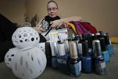 Anlina Sheng photographed with her stuff for My Stuff in Winnipeg.
