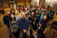 Red River College Creative Communications instructor Duncan McMonagle with his journalism class.
