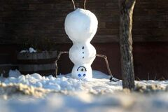 This snowman's builders got off to a head start while building this happy fellow on Sheppard Street.