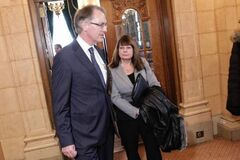 Former Winnipeg CFS CEO Darlene MacDonald with lawyer Gord McKinnon outside the inquiry Tuesday.