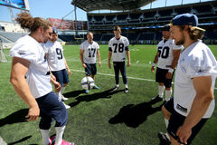 Bombers Billy Pavlopoulos, Mike Renaud, Justin Palardy, Tim Hutchison, Chris Cvetkovic and Brett Cameron play a bit of soccer during practice at Investors Group Field this morning.