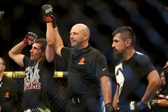 Winnipeg's Roland Delorme is announced the winner of his UFC 161 fight against Edwin Figueroa at the MTS Centre Saturday.