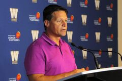 Newly appointed Winnipeg Blue Bombers offensive co-ordinator Marcel Bellefeuille speaks at a media conference on Monday.
