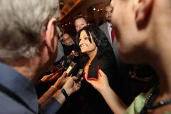 New Manitoba Liberal Leader Rana Bokhari talks to the media after her victory Saturday at the Fort Garry Hotel.