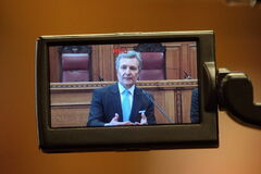 Court of Queen's Bench Chief Justice Glenn Joyal speaks to the media about the camera-in-court pilot project at the Law Courts building in Winnipeg on Tuesday.