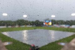 Saturday's Goldeyes game against the St. Paul Saints has been suspended until Sunday afternoon thanks to heavy rain.