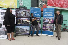 Romando Nilles (left) of Aboriginal Youth Opportunities and Robert Neufeld of the North End  Community Renewal Corp., outside the Merchants Hotel.