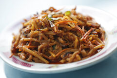 Stir-fry shredded pork with homemade garlic sauce at Winnipeg Flying Noodle House