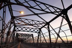 The Arlington Bridge was closed to vehicle traffic Monday morning for deck repairs and will reopen Monday Oct.1 at 6AM. A sidewalk will remain open during the week of the construction work.      (WAYNE GLOWACKI/WINNIPEG FREE PRESS) Winnipeg Free Press  Sept. 24  2012