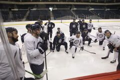 A large number Jets gathered for an informal practice in the MTS Centre Thursday.