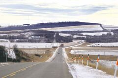 As you drive south on Hwy. 34 toward Swan Lake First Nation, the landscape begins to change from flat plains to rolling hills.