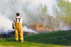 Firefighters battle a grass fire just south of Highway 201 and east of Highway 302, between Vita and Caliento Sunday.