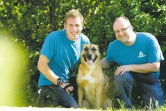 Ruth Bonneville / Winnipeg Free Press  Humane Society volunteers Derek Resch (left) and Colin Glass with Star.