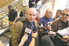 Winnipeg Blue Bombers head coach Paul LaPolice talks to the media at the airport in July of this season after returning from Toronto where the team lost 25-22 to the Argonauts.